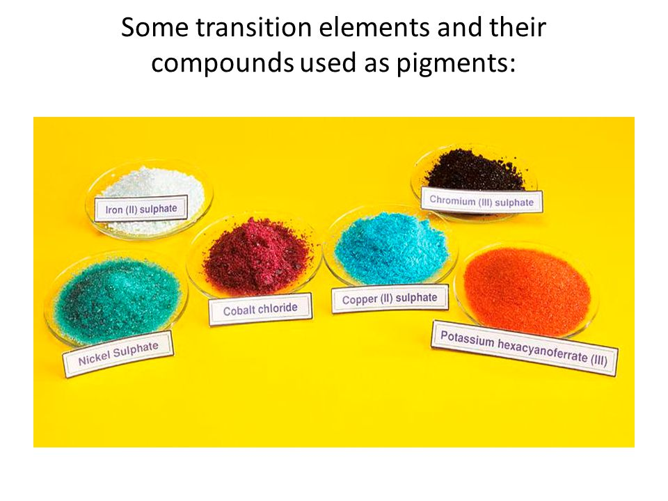 Some transition elements and their compounds used as pigments: