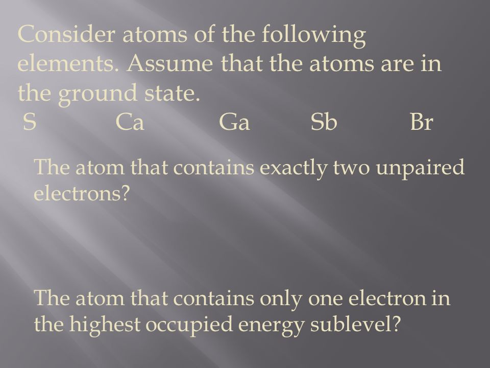 Consider atoms of the following elements
