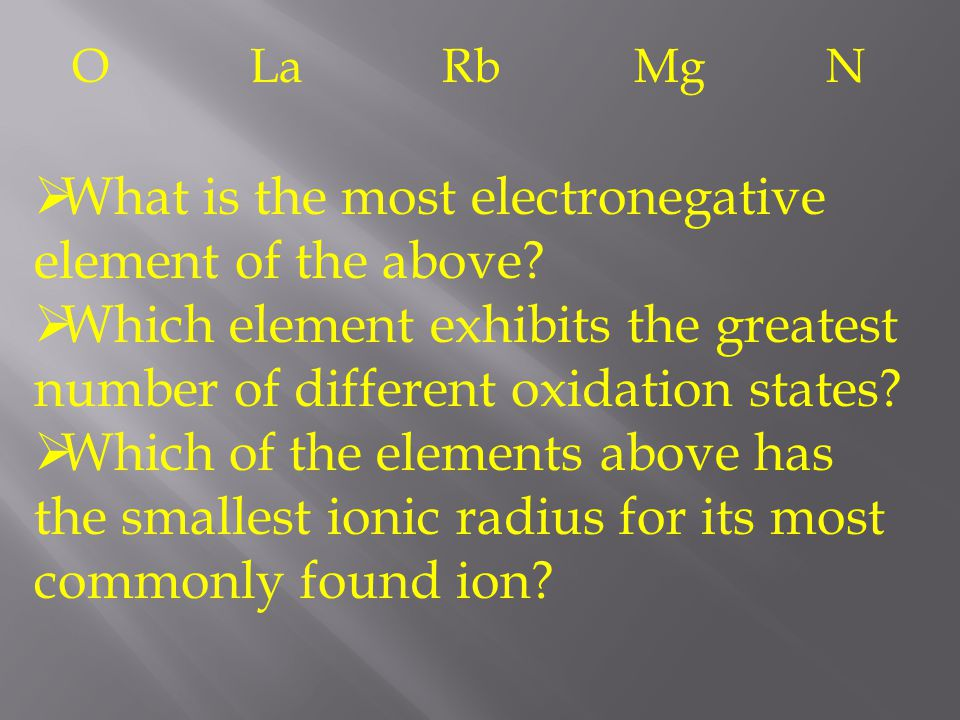 What is the most electronegative element of the above