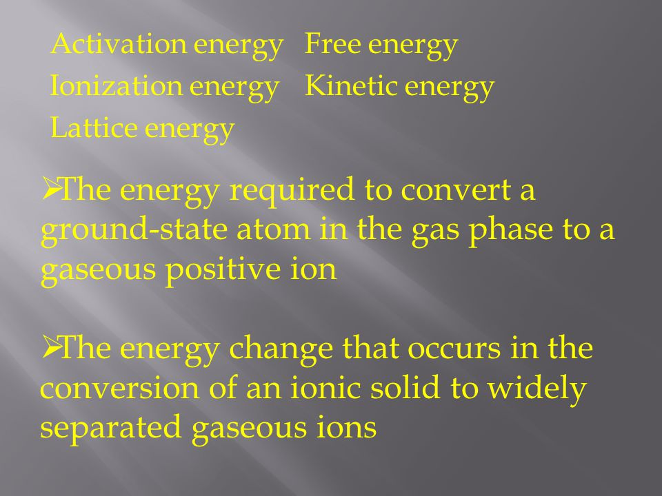 Activation energy Free energy Ionization energy Kinetic energy Lattice energy