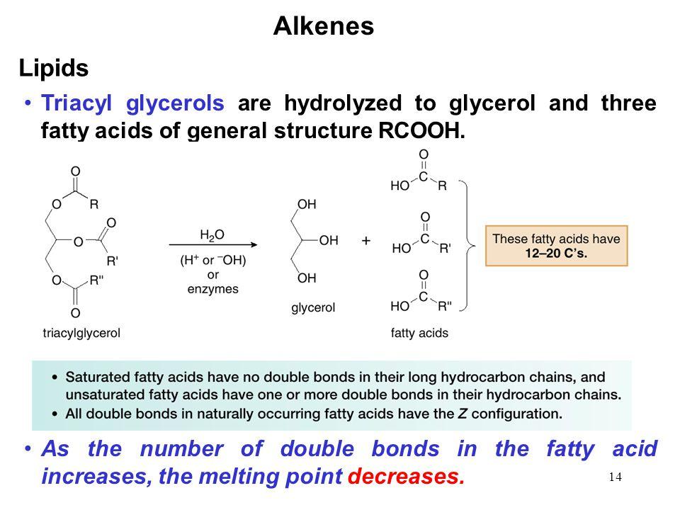 Alkenes Lipids. Triacyl glycerols are hydrolyzed to glycerol and three fatty acids of general structure RCOOH.