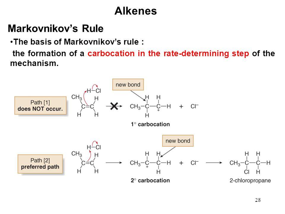 Alkenes Markovnikov's Rule The basis of Markovnikov's rule :