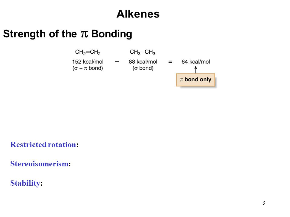Alkenes Strength of the p Bonding Restricted rotation: