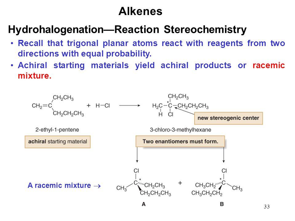Alkenes Hydrohalogenation—Reaction Stereochemistry