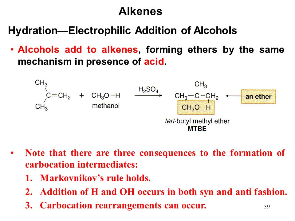 Alkenes Hydration—Electrophilic Addition of Alcohols