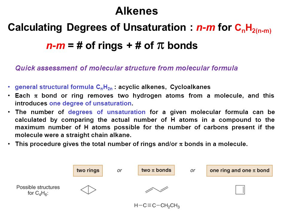 Alkenes Calculating Degrees of Unsaturation : n-m for CnH2(n-m)