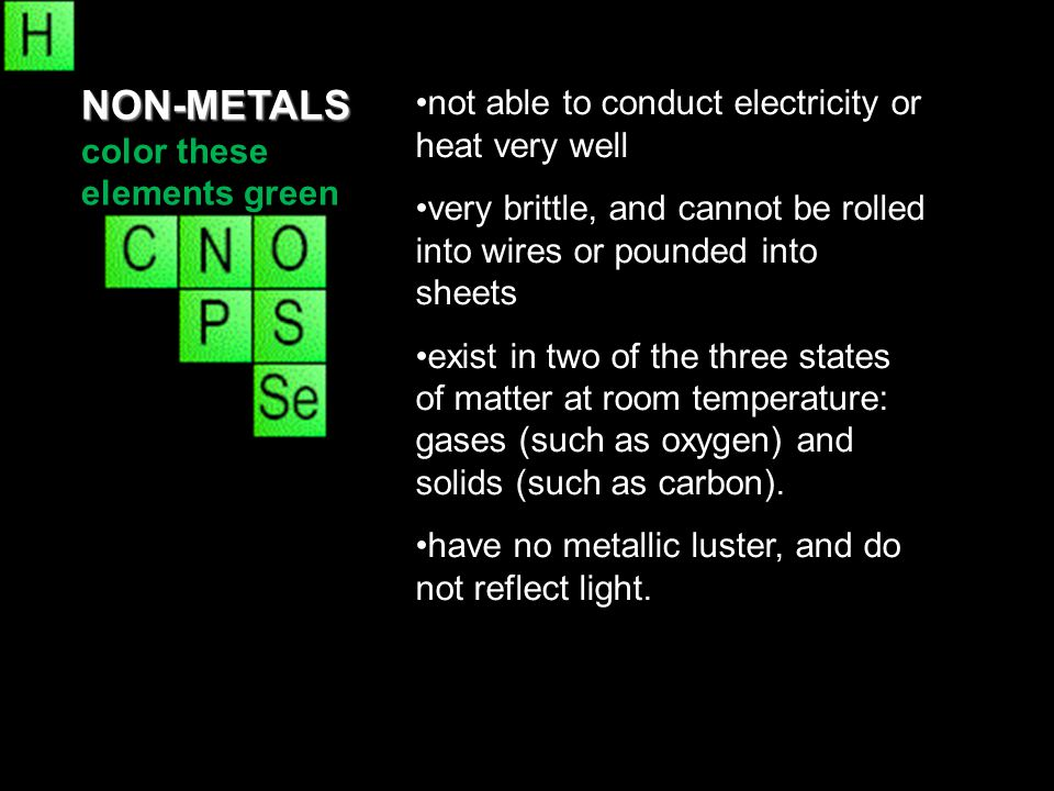 NON-METALS color these elements green