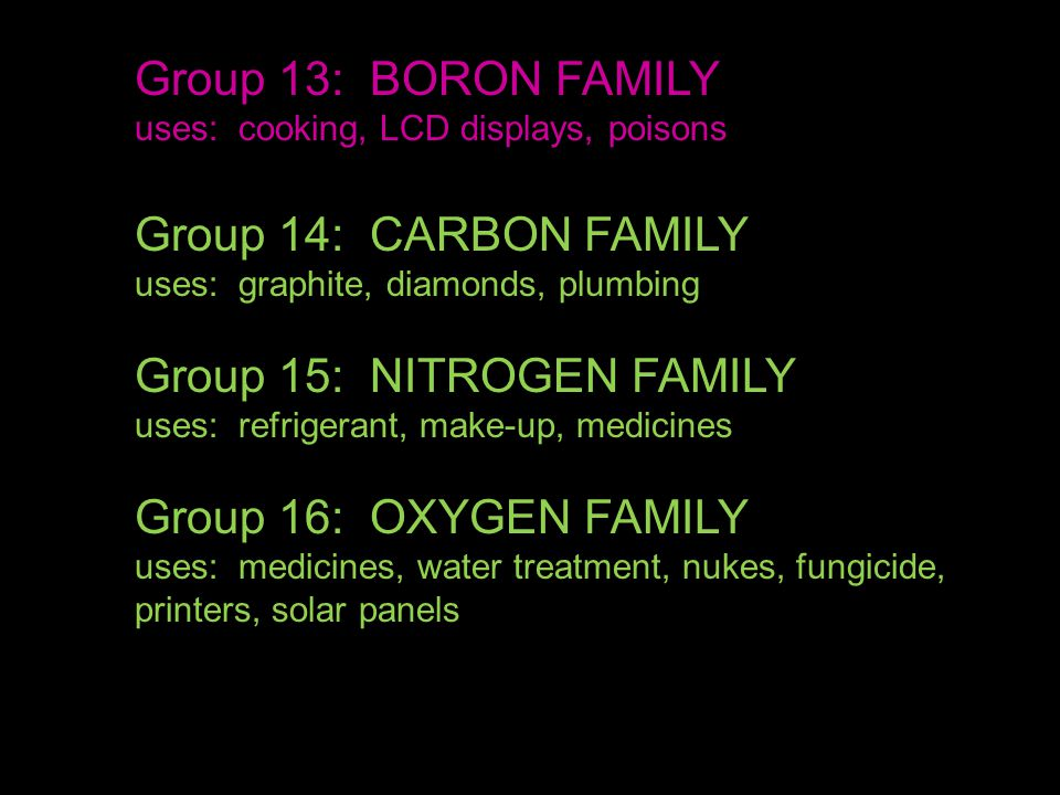 Group 13: BORON FAMILY uses: cooking, LCD displays, poisons