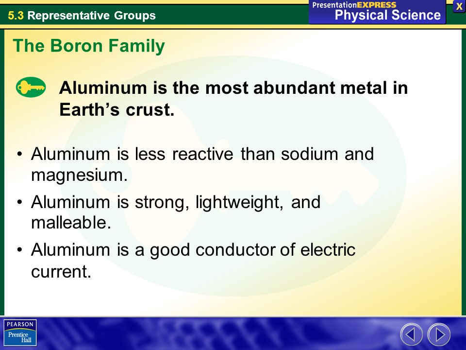 The Boron Family Aluminum is the most abundant metal in Earth's crust. Aluminum is less reactive than sodium and magnesium.