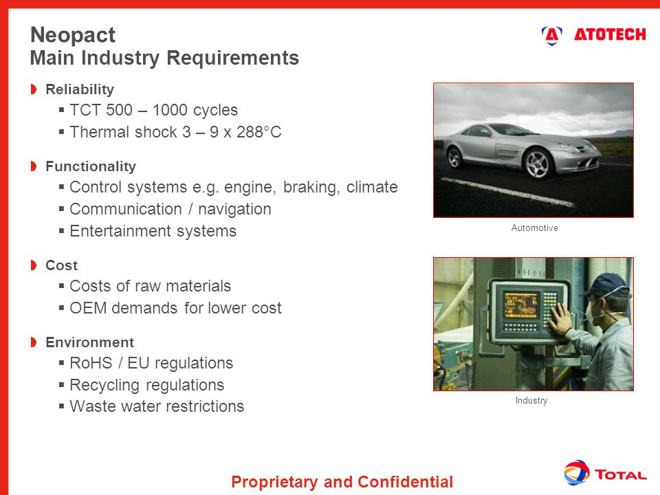 Neopact Main Industry Requirements