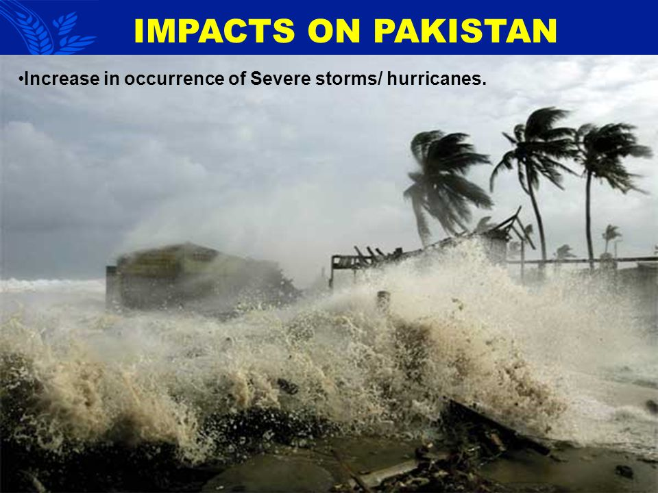 IMPACTS ON PAKISTAN Increase in occurrence of Severe storms/ hurricanes.