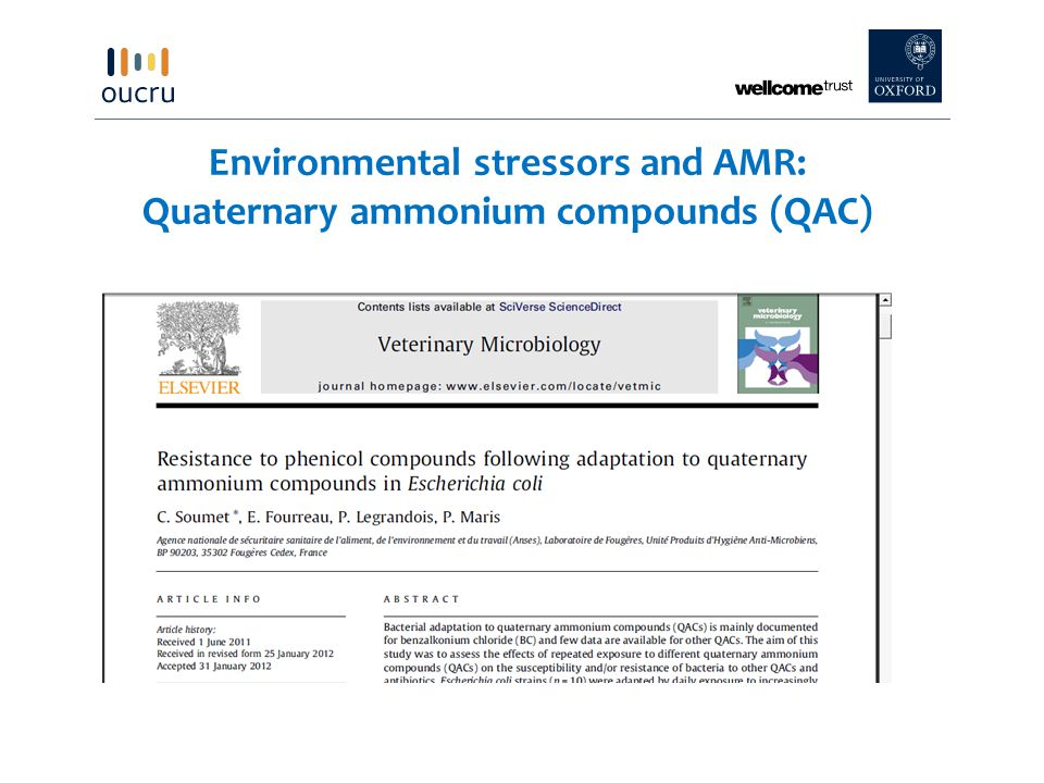 Environmental stressors and AMR: Quaternary ammonium compounds (QAC)