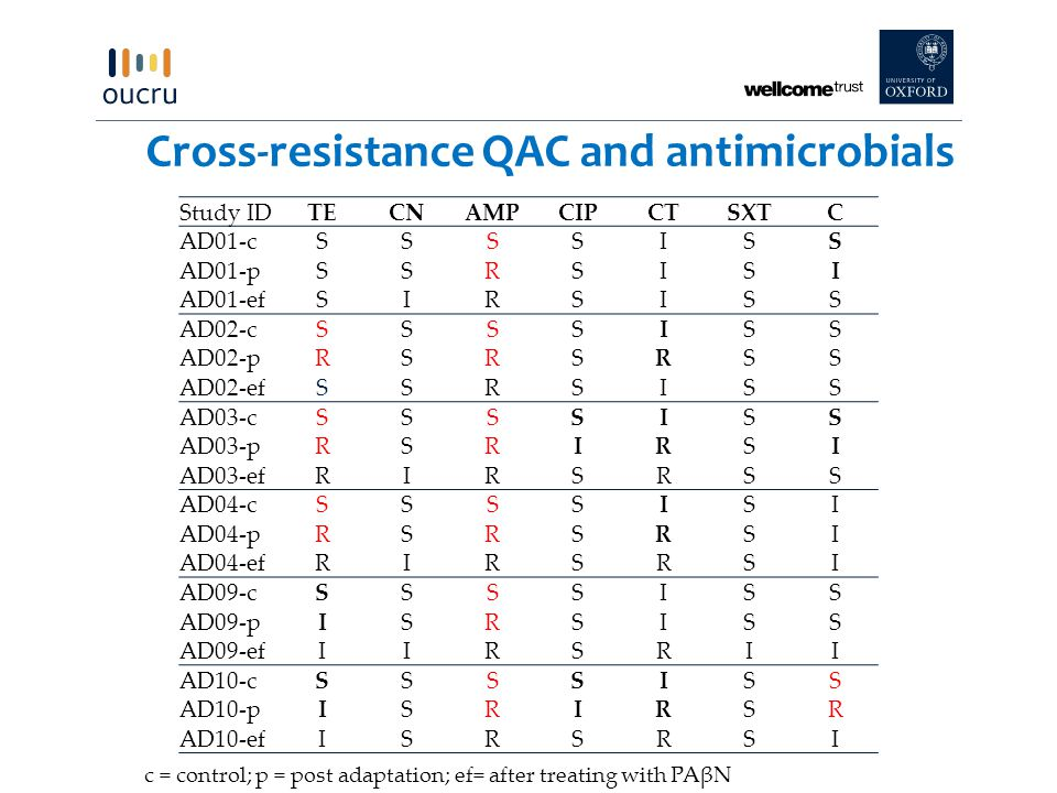 Cross-resistance QAC and antimicrobials