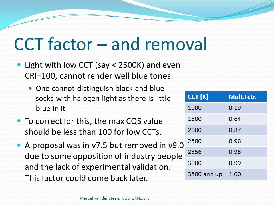 CCT factor – and removal
