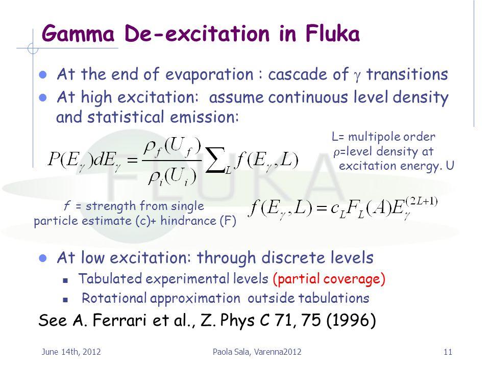Gamma De-excitation in Fluka
