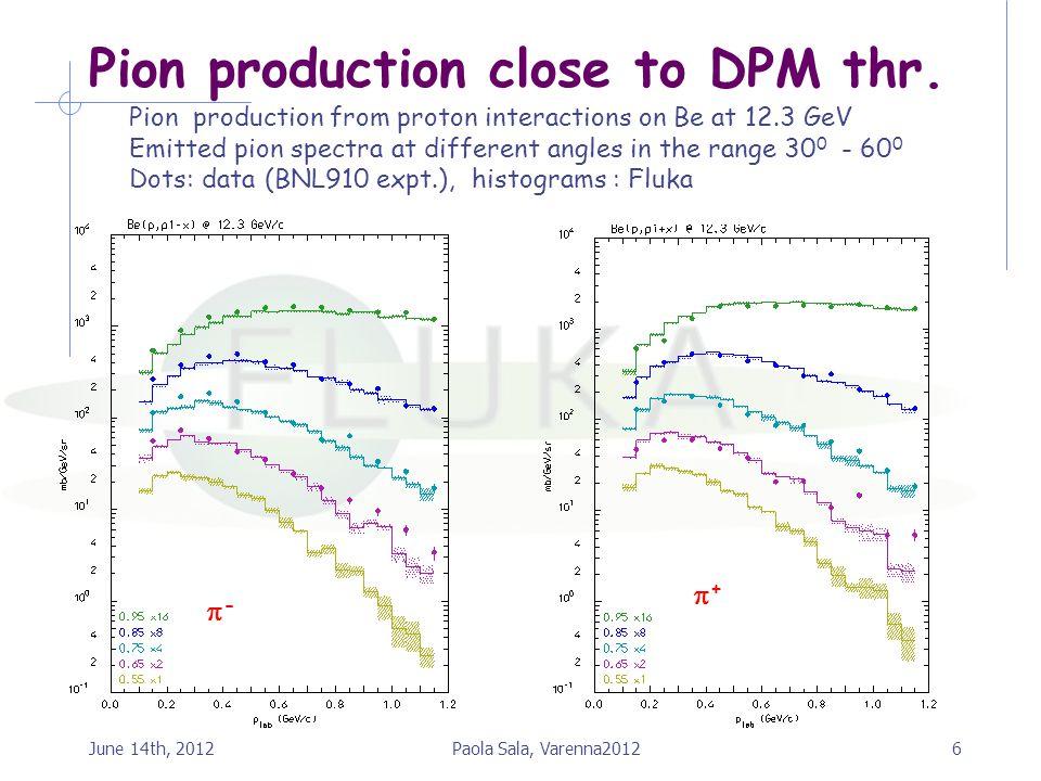 Pion production close to DPM thr.