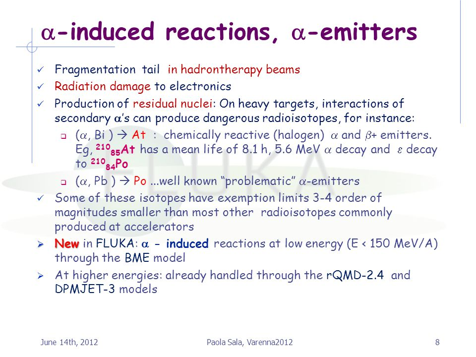 -induced reactions, -emitters