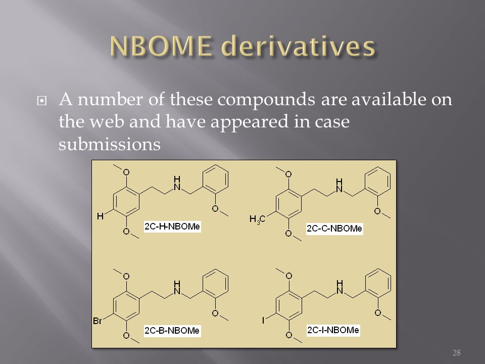 NBOME derivatives A number of these compounds are available on the web and have appeared in case submissions.