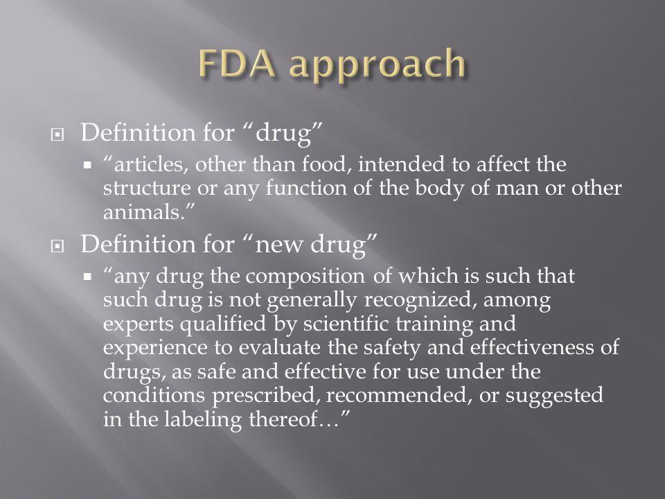 FDA approach Definition for drug Definition for new drug
