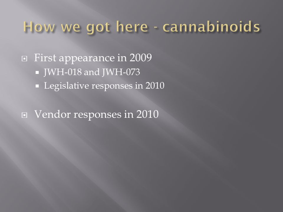 How we got here - cannabinoids