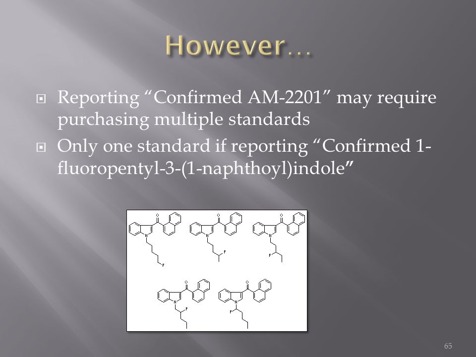 However… Reporting Confirmed AM-2201 may require purchasing multiple standards.