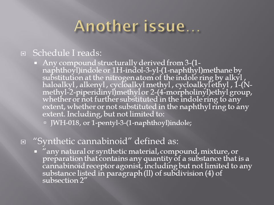 Another issue… Schedule I reads: Synthetic cannabinoid defined as: