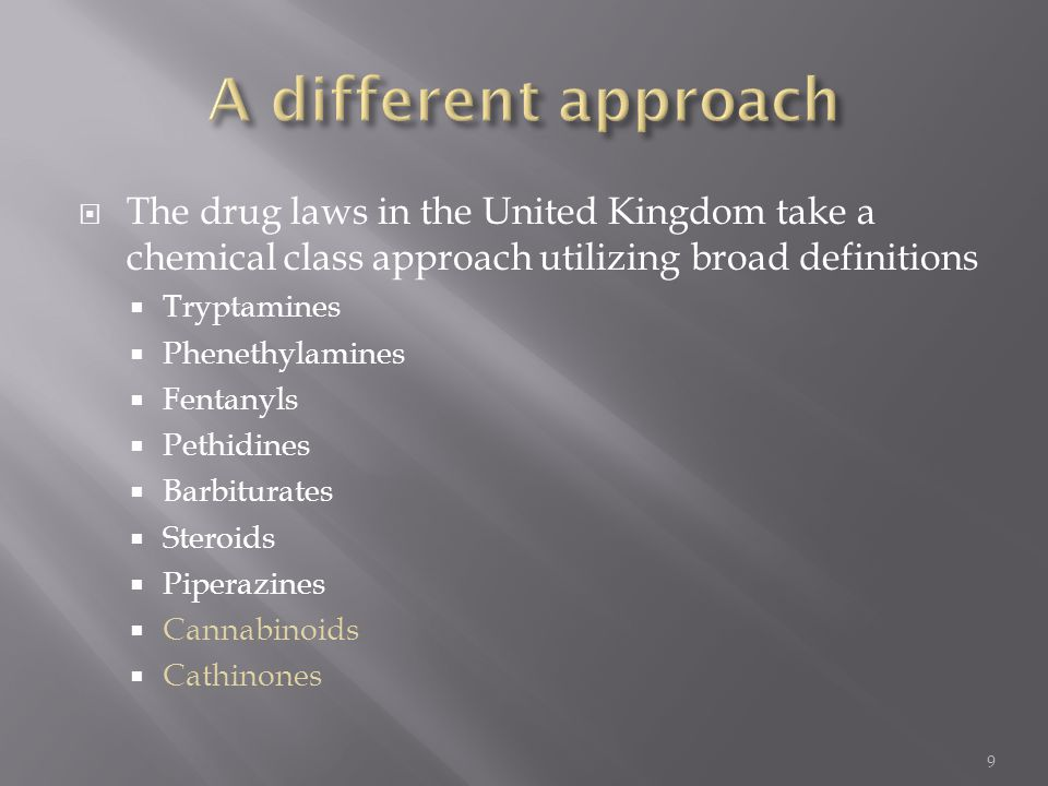 A different approach The drug laws in the United Kingdom take a chemical class approach utilizing broad definitions.