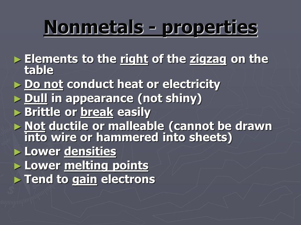 Nonmetals - properties
