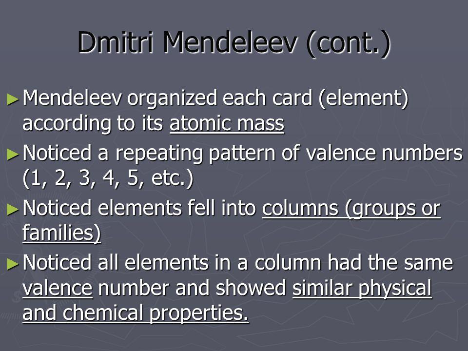 Dmitri Mendeleev (cont.)