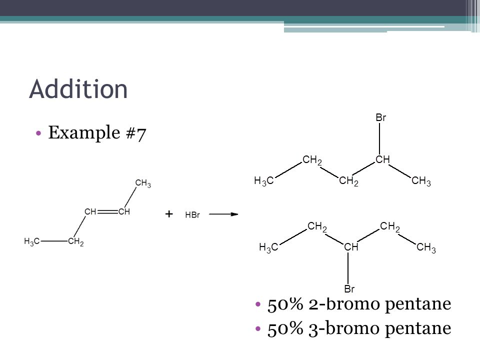 Addition Example #7 50% 2-bromo pentane 50% 3-bromo pentane