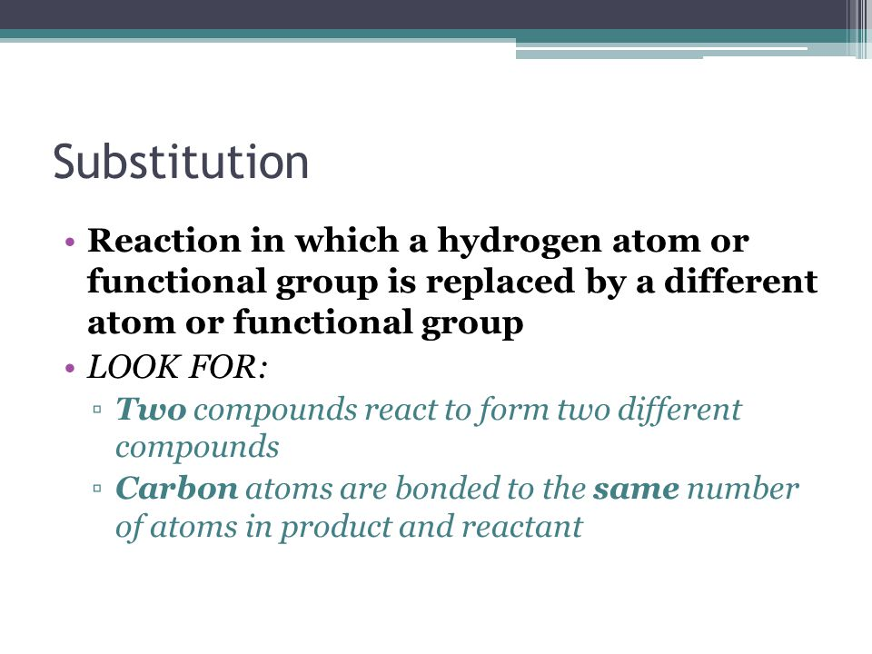 Substitution Reaction in which a hydrogen atom or functional group is replaced by a different atom or functional group.