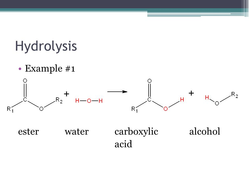 Hydrolysis Example #1 ester water carboxylic alcohol acid