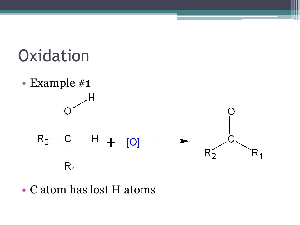Oxidation Example #1 C atom has lost H atoms