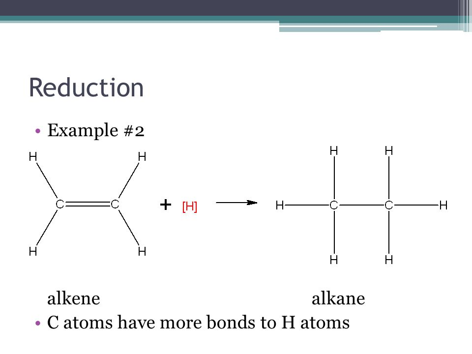 Reduction Example #2 alkene alkane C atoms have more bonds to H atoms