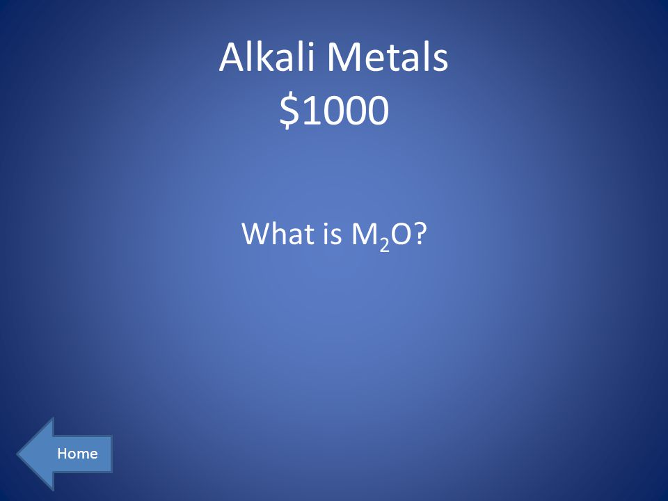 Alkali Metals $1000 What is M2O Home