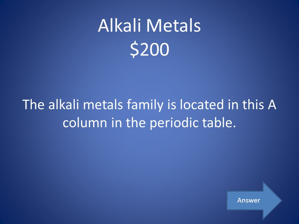 Alkali Metals $200 The alkali metals family is located in this A column in the periodic table.