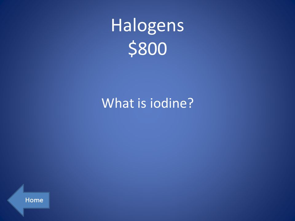 Halogens $800 What is iodine Home