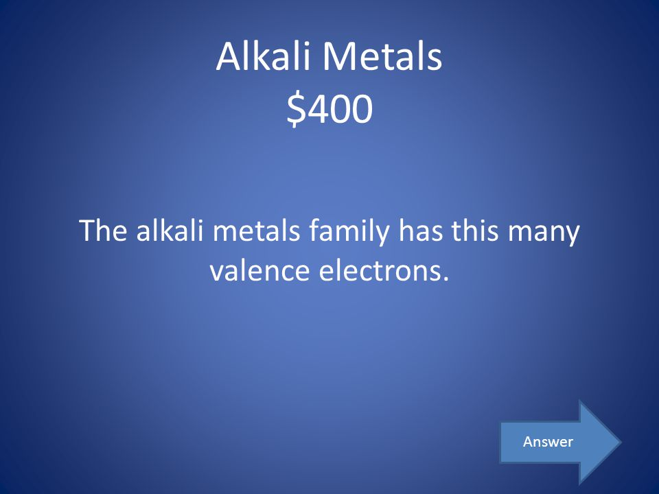 The alkali metals family has this many valence electrons.