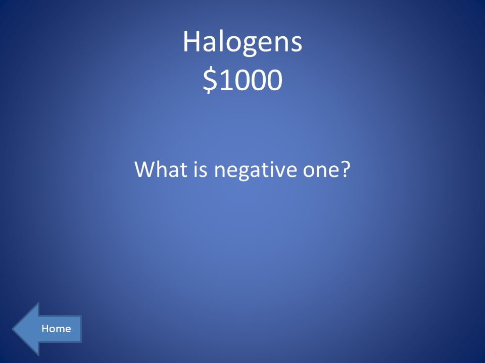 Halogens $1000 What is negative one Home