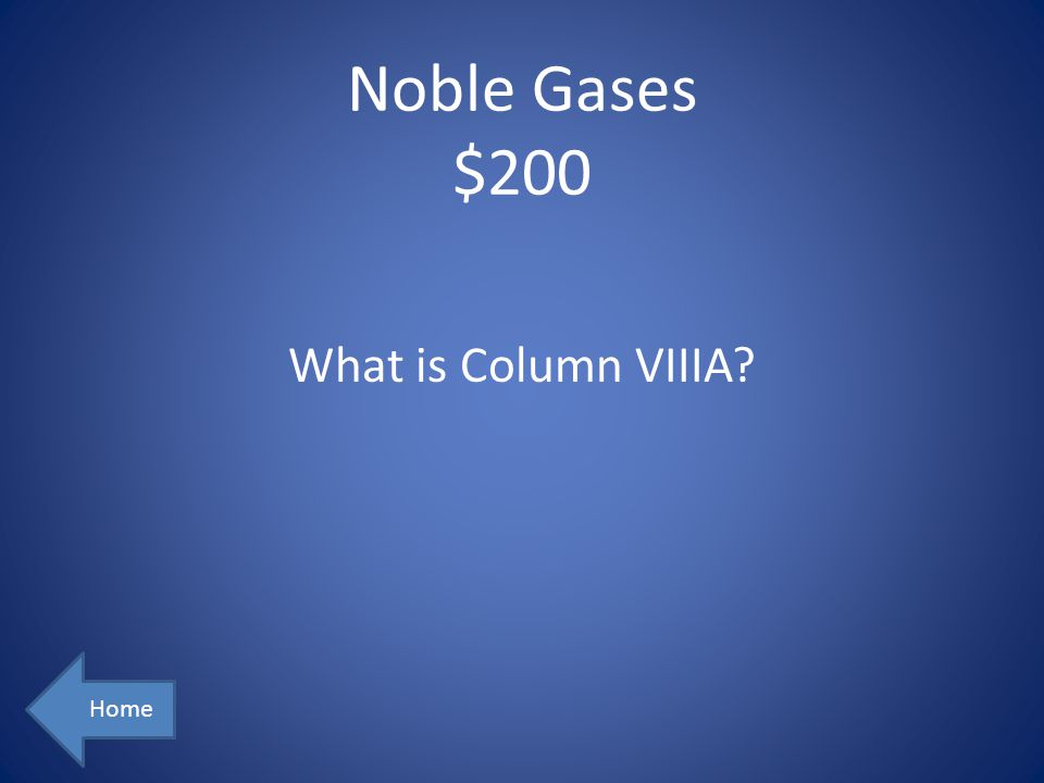 Noble Gases $200 What is Column VIIIA Home