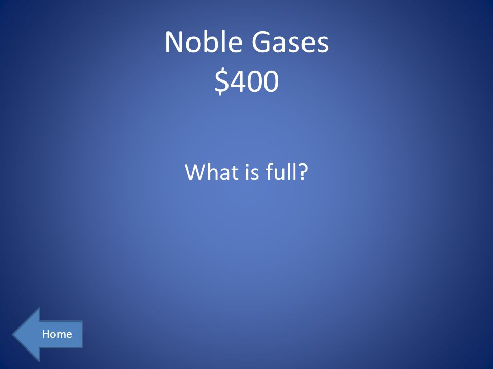 Noble Gases $400 What is full Home