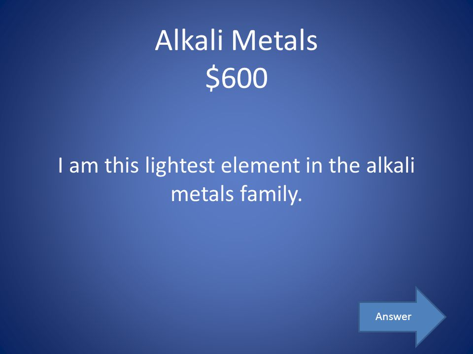 I am this lightest element in the alkali metals family.