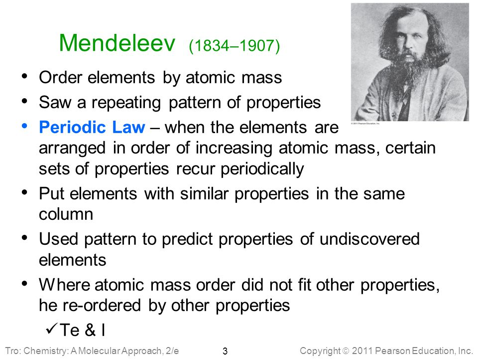 Mendeleev (1834–1907) Order elements by atomic mass