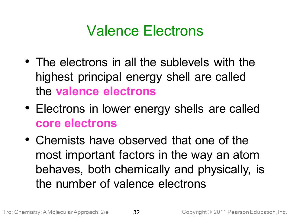 Valence Electrons The electrons in all the sublevels with the highest principal energy shell are called the valence electrons.