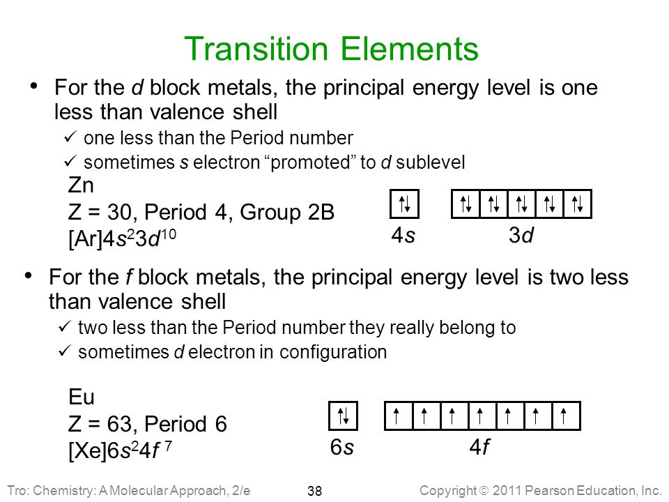 Transition Elements For the d block metals, the principal energy level is one less than valence shell.