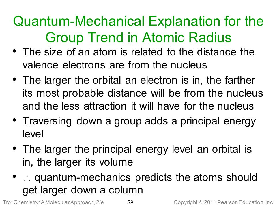 Quantum-Mechanical Explanation for the Group Trend in Atomic Radius
