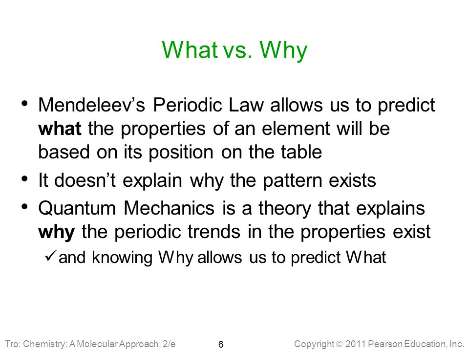 What vs. Why Mendeleev's Periodic Law allows us to predict what the properties of an element will be based on its position on the table.