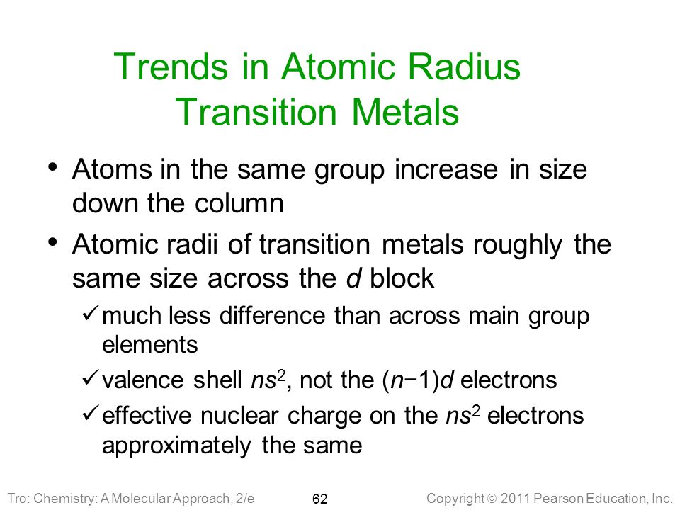Trends in Atomic Radius Transition Metals