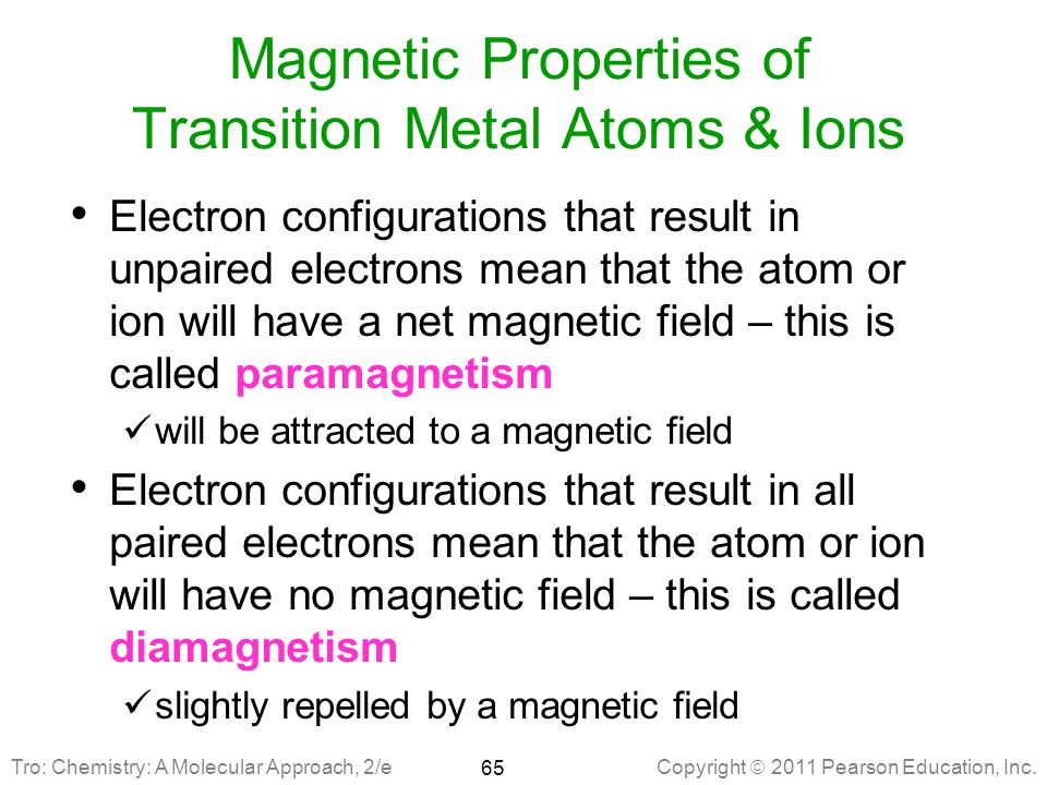 Magnetic Properties of Transition Metal Atoms & Ions