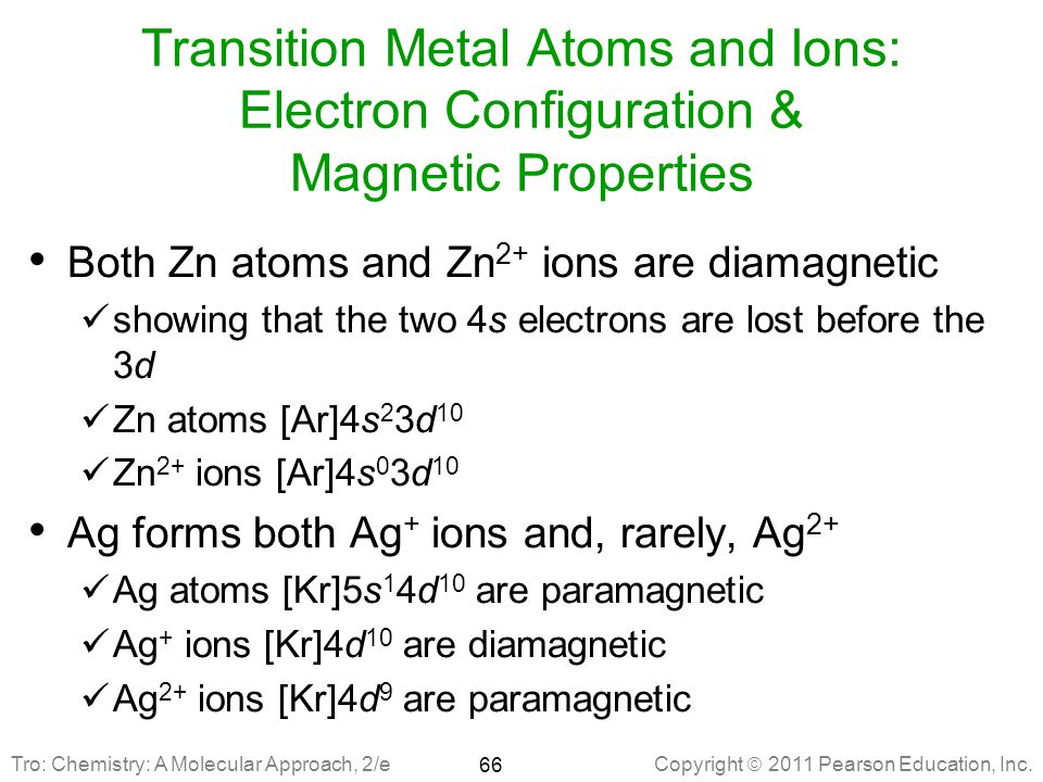 Transition Metal Atoms and Ions: Electron Configuration & Magnetic Properties